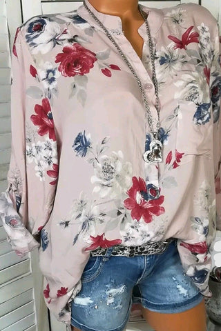 AA| Chicloth Flower Printing V-neck Women Blouses-Chicloth