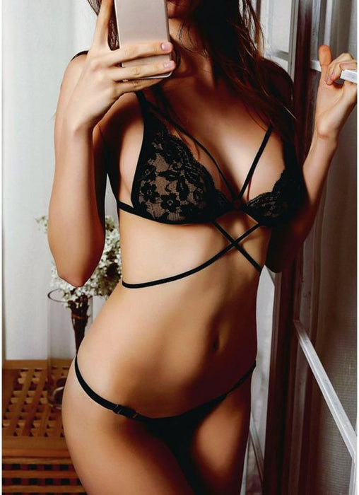 dc8abf4121fb Chicloth Sexy Lingerie Setheer Lace Hollow Out Bandage Strappy Two-Piece-LingerieBra  & Bra