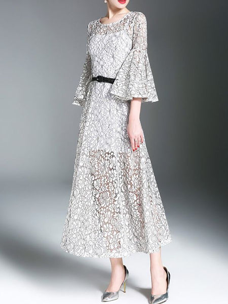 A-line Daily Bell Sleeve Elegant Guipure lace Midi Dress