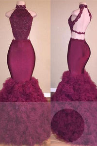 A| Chicloth Glamorous Mermaid Lace Backless Burgundy Prom Dress-Prom Dresses-Chicloth