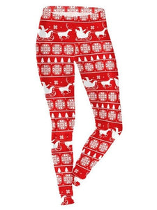 Red Santa Claus Elk Printed Christmas Leggings Casual Feet Pants for Women