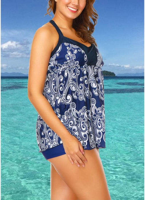 B| Chicloth Plus Size Floral Print Tankini Sleeveless Two Piece Swimwear-nylon,polyester,plussizeswimsuit-Chicloth