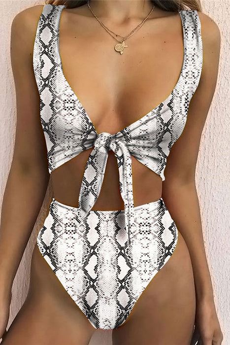 B| Chicloth White Split Snake Print Swimsuit With A Knotted Bikini
