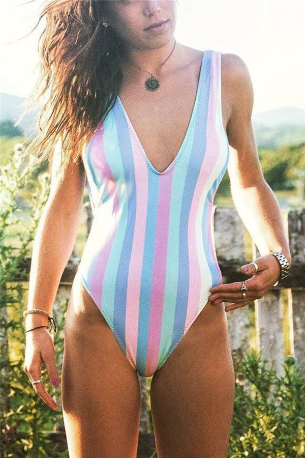 A| Chicloth Colorful Striped Triangle Backless One-Piece Swimsuit-Bikinis-Chicloth