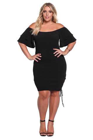B| Chicloth Off Shoulder Women Short Sleeve Ruffle Summer Dress-Plus Size Dresses-Chicloth