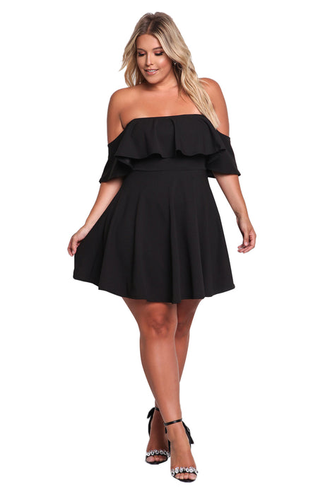 B| Chicloth Women Plus Size Off Shoulder Clubwear Ruffle Party Cocktail Frill Mini Dress-Plus Size Dresses-Chicloth