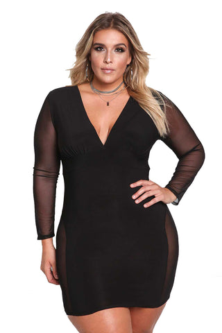 B| Chicloth Spring Autumn V-Neck Long Sleeve Sheath Sexy Lace Hollow Out Women Dresses-Plus Size Dresses-Chicloth
