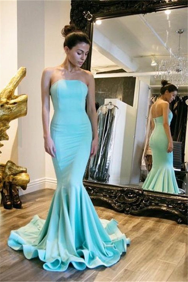 B/ Chicloth Sexy Simple Strapless Mermaid Prom Dresses Court Train Party Dress - Candy Pink / US 2