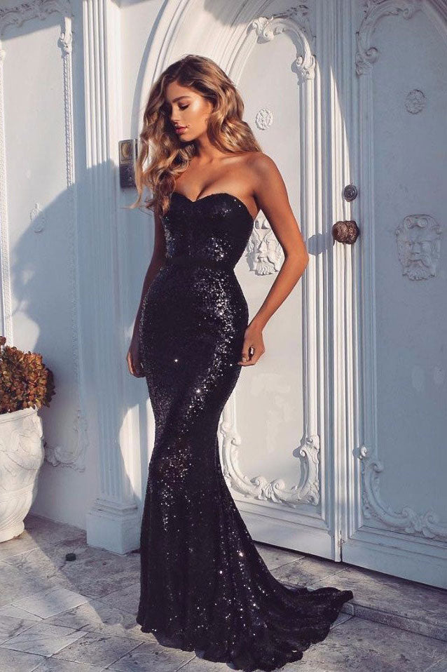 B/ Chicloth Black Sequins Mermaid Prom Dresses Sexy Evening Gowns - Ivory / US 12