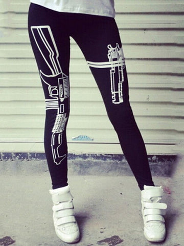 New York Fashion Hot Slim Low-Waisted Gun Printed Black Cotton Cropped Leggings