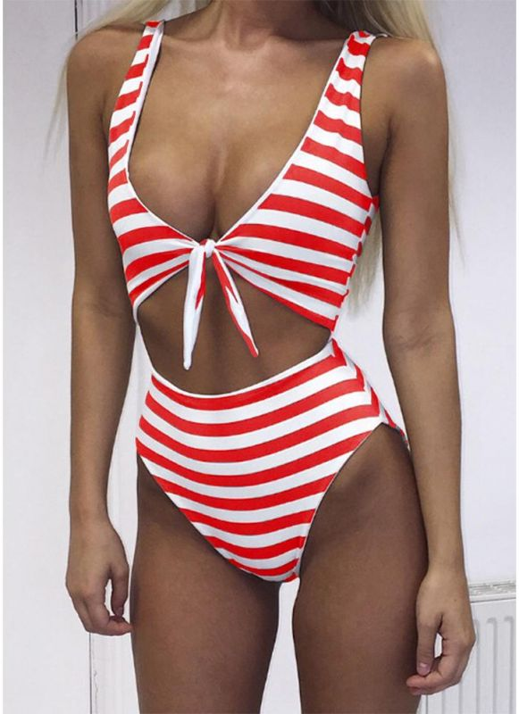 B/ Chicloth Striped Tie Front Wireless Women One Piece Monokini - Red / L
