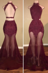 A| Chicloth SALLIE | Mermaid High-Neck Burgundy Sheer-Tulle Lace Appliques Prom Dresses-Prom Dresses-Chicloth