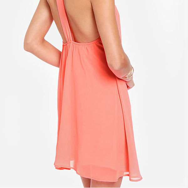 Chicloth Backless Chiffon Summer Dress