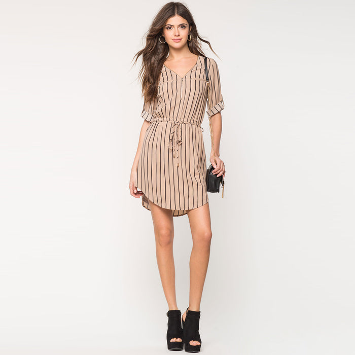 Chicloth Plunge V-Neck Middle Sleeve T-shirt Dress-Chicloth