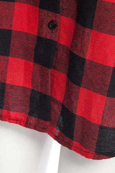 A| Chicloth New Wild Plaid Long Shirt Long Sleeve Casual Ladies Shirt - Chicloth
