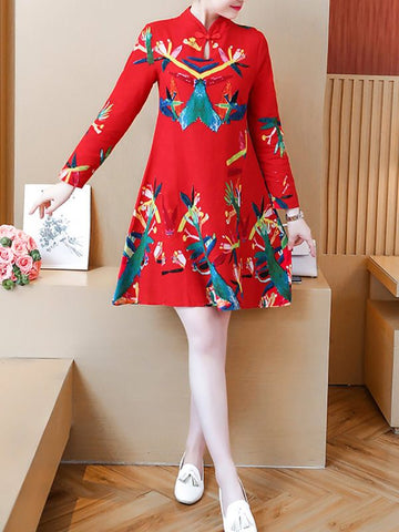 Plus Size Keyhole Midi Dress A-line Daily Dress Long Sleeve Casual Printed Leaf Dress