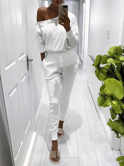 Chicloth Trendy Skew Neck Drawstring Skinny Pantsuit