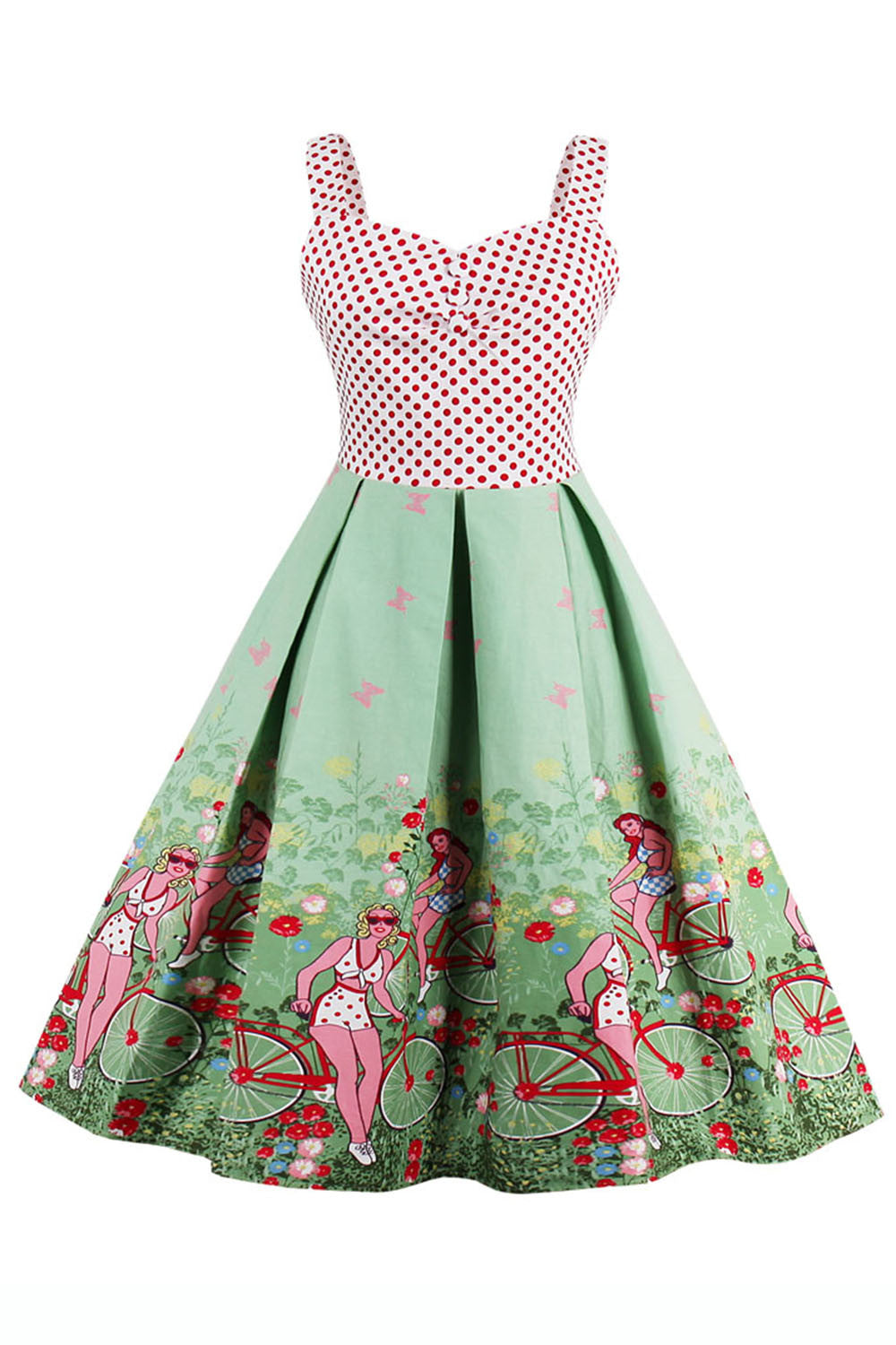 Chicloth Deserve the Best A-line light green Vintage Dress - Chicloth