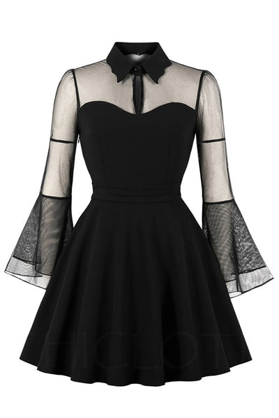 B| Chicloth Flare Sleeves Collared Mini Dress-party dresses-Chicloth