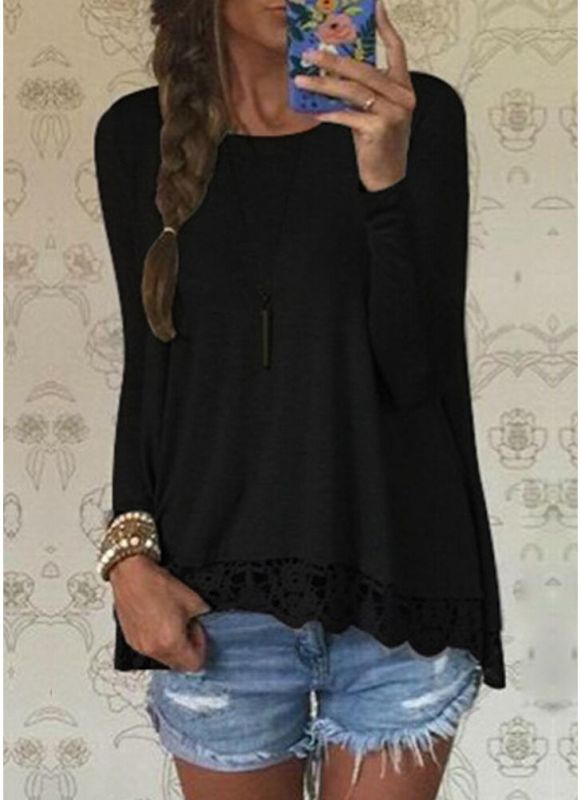 B/ Chicloth Fashion Women Casual T-Shirt Round Neck Long Sleeve Crochet Lace Splice Irregular Hem Top Tee - Black / 5XL