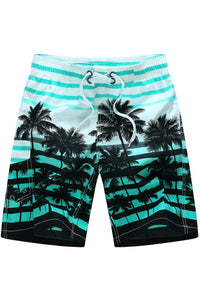 A| Chicloth Coconut Stripe Side Pocket Men's Beach Board Swim Trunks-Chicloth