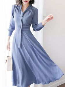 Blue Work A-line Tie-neck Elegant Long Sleeve Gathered Plus Size Midi Dresses