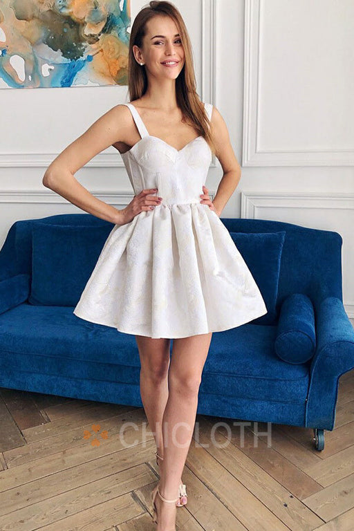 A-Line Straps Floral Short Ivory Satin Homecoming Party Dress