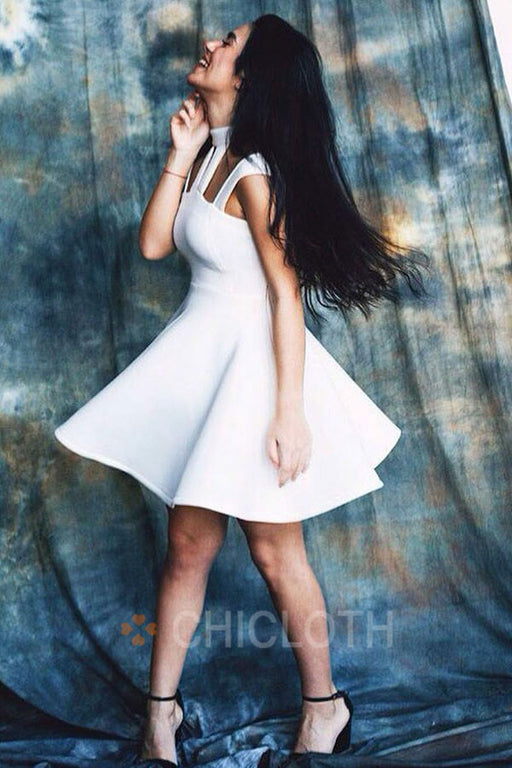 A-Line High Neck Cut Out White Satin Homecoming Dress
