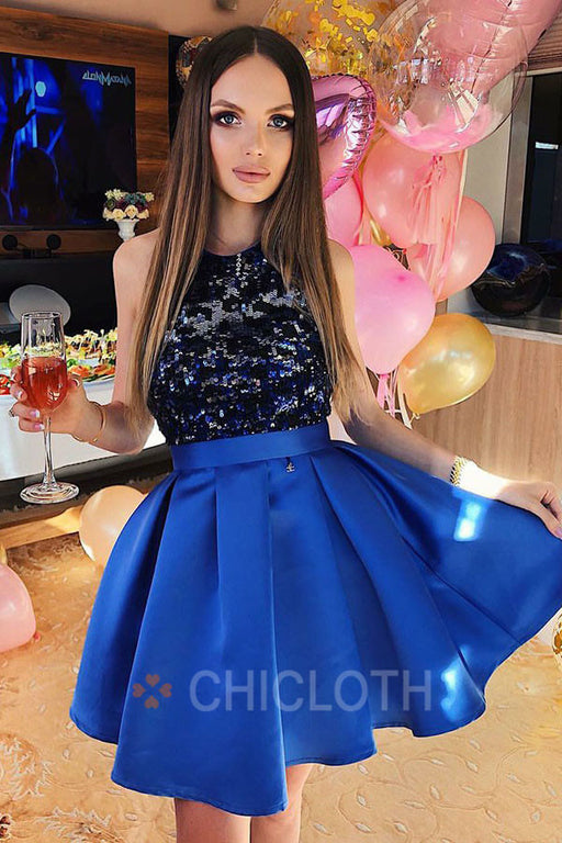 A-Line Round Neck Royal Blue Pleated Satin Homecoming Dress with Sequins
