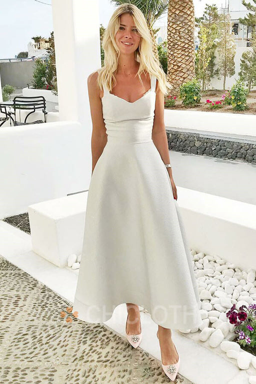 A-Line Straps Ankle Length Sleeveless White Satin Homecoming Dress
