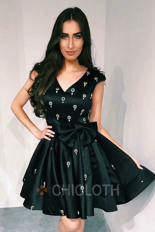 Cute A-Line V-Neck Pleated Black Satin Homecoming Dress with Bowknot