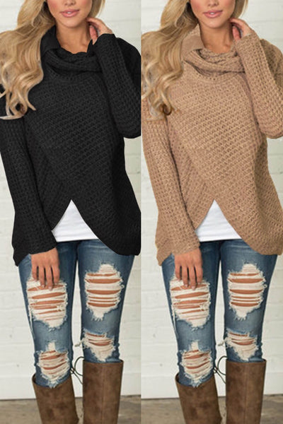 A| Chicloth Womens Sweaters Casual Cowl Neck Chunky Cable Knit Wrap Pullover Sweater