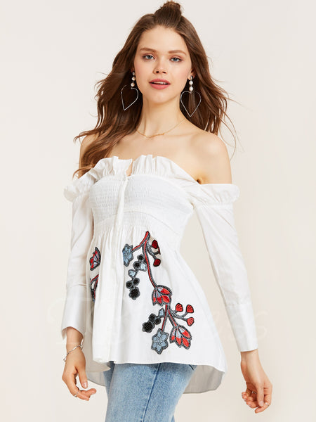 Floral Embroidery Falbala Patchwork Off the shoulder White Blouse
