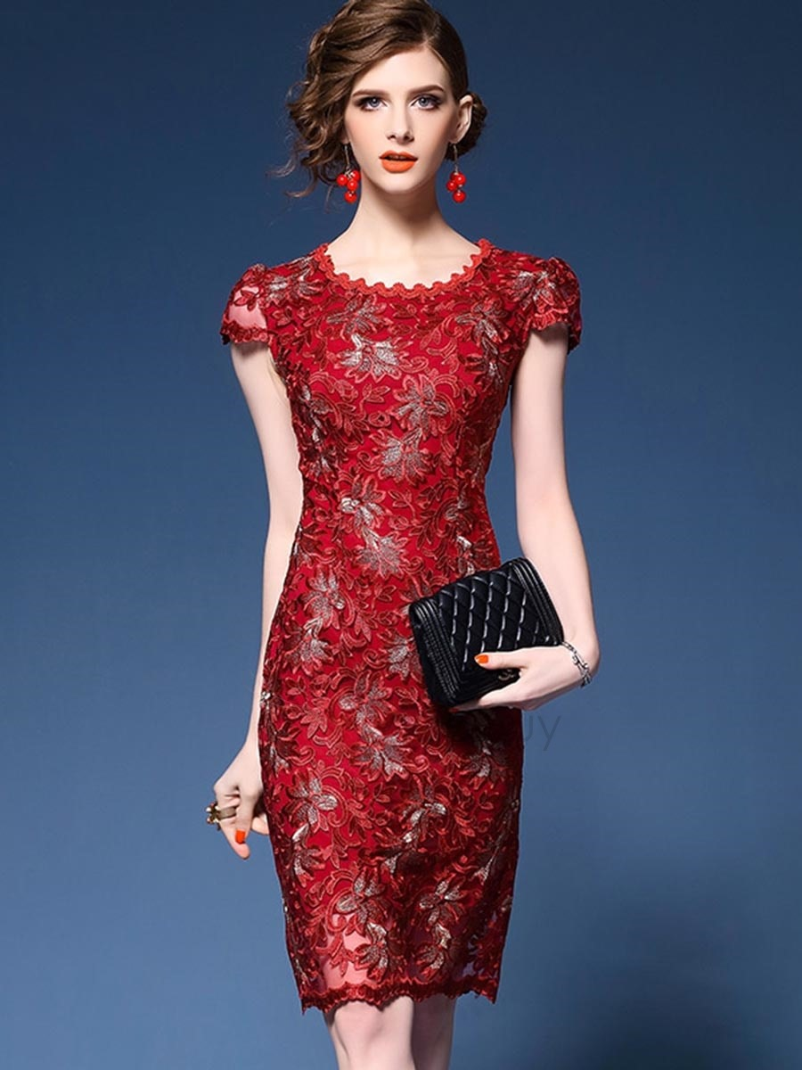 Chicloth Round Neck Elegant Floral Lace Bodycon Dress - M / Red
