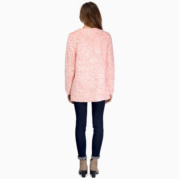 Chicloth Sweet rose pattern imitation fur coat in the long section of warm wool coat