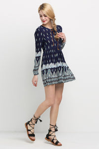 Chicloth Dark Blue A-line Floral Dress - Chicloth