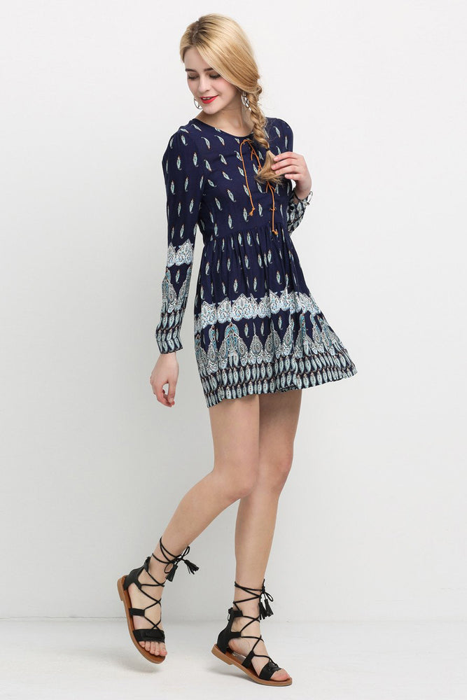 Chicloth Dark Blue A-line Floral Dress-Chicloth