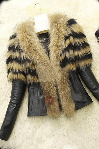 B| Chicloth Winter Style Faux Fur Lapel PU Short Women's Jacket-Chicloth