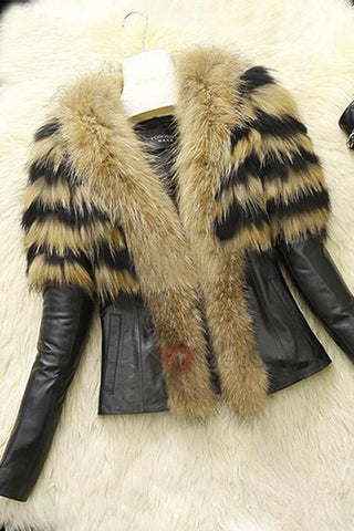 A| Chicloth Winter Style Faux Fur Lapel PU Short Women's Jacket