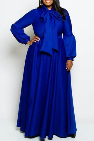 A| Chicloth Plain Plus Size Lantern Sleeve Women'S Maxi Dress