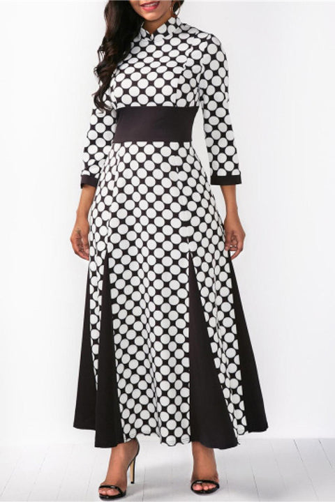 A| Chicloth 3/4 Sleeve Polka Dots Women'S Maxi Dress-plus size dresses-Chicloth