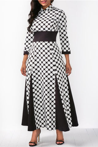 A| Chicloth 3/4 Sleeve Polka Dots Women'S Maxi Dress