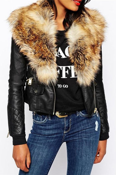 Chicloth Fabulous Fur Collar With Flap Pockets Overcoats-Faux Fur Coats-Chicloth