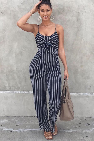 A| Chicloth Stripe Knotted Wide Legs Strap Women'S Jumpsuits-Jumpsuits-Chicloth