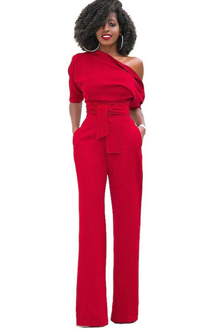 A| Chicloth One Shoulder Pleated Loose High-Waist Belt Women'S Jumpsuits