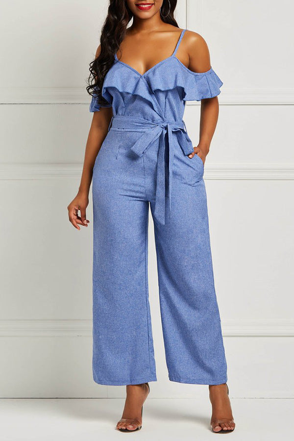 A| Chicloth Lace-Up Patchwork Casual Jumpsuit Pants