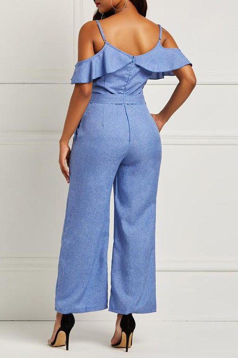 A| Chicloth Lace-Up Patchwork Casual Jumpsuit Pants-Jumpsuits-Chicloth
