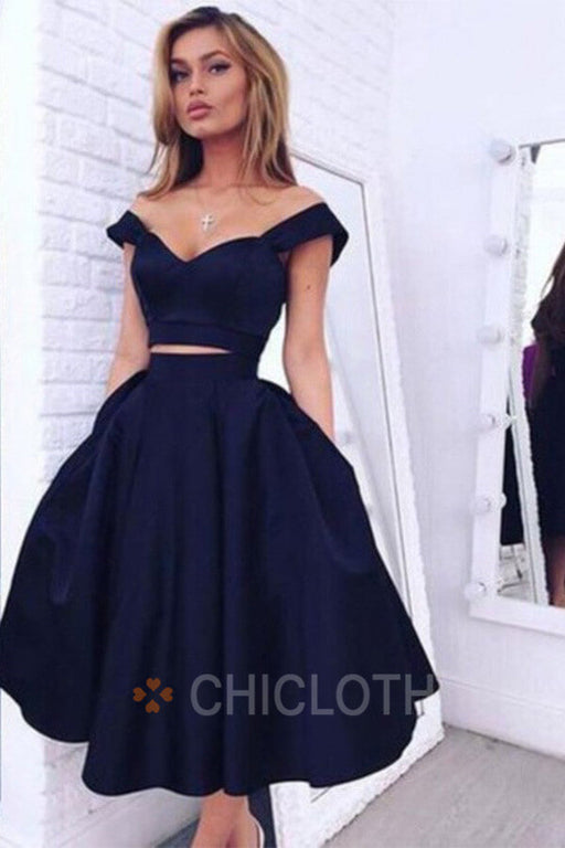 Two Piece Off-the-shoulder Mid-Calf Dark Navy Taffeta Prom Homecoming Dress