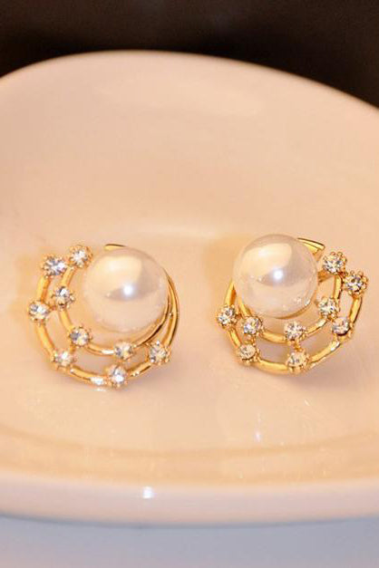 A| Chicloth Elegant Pearl Diamond-Shaped Earrings(In Stock)-Chicloth