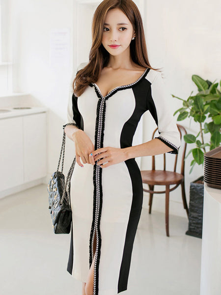 Chicloth black and white thick stripes zipper sexy bodycon dress